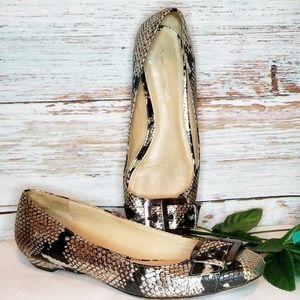 VIA SPIGA Shoes Flats Silver Gray Snakeskin Size 7